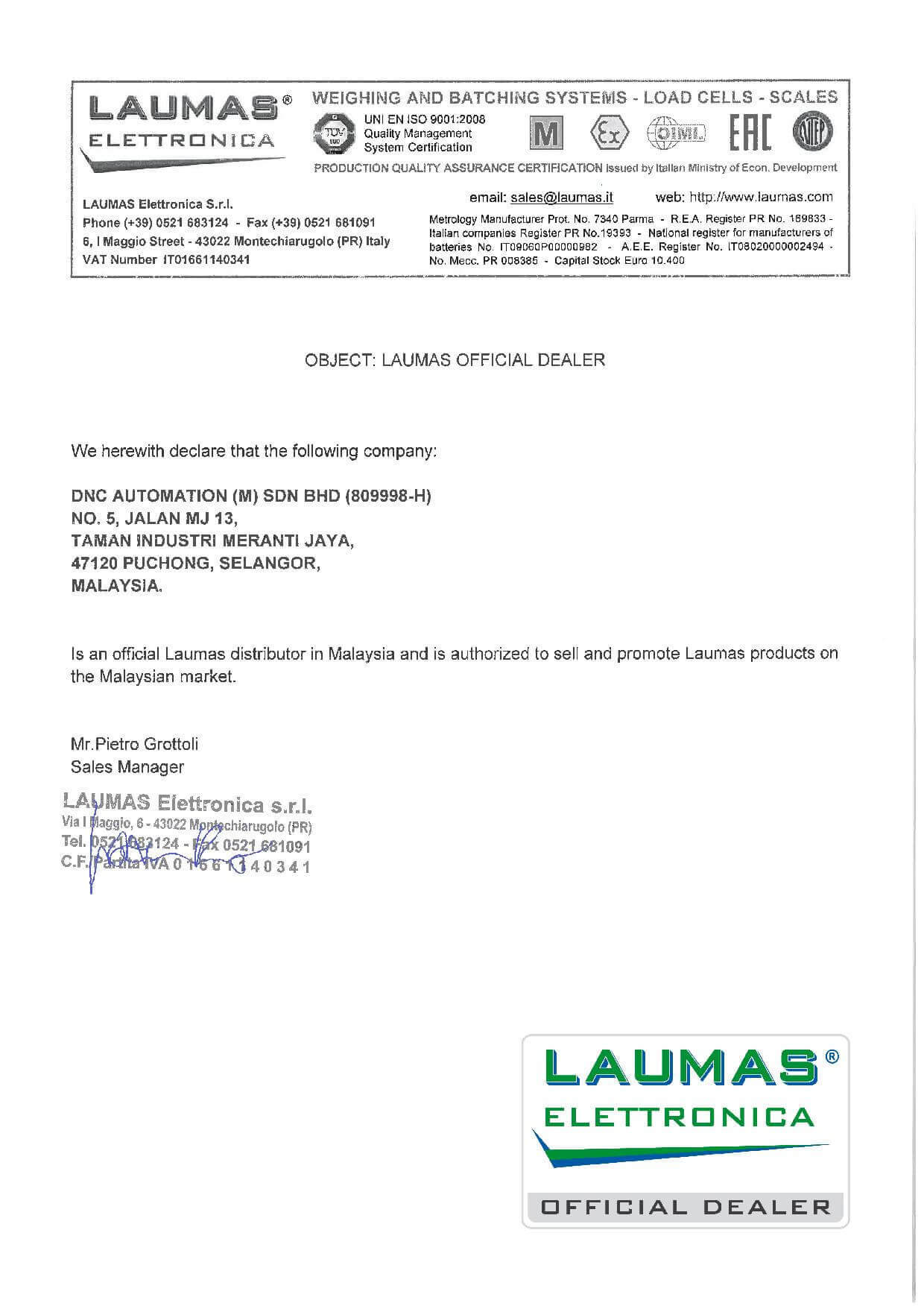 LAUMAS AUTHORIZED LETTER